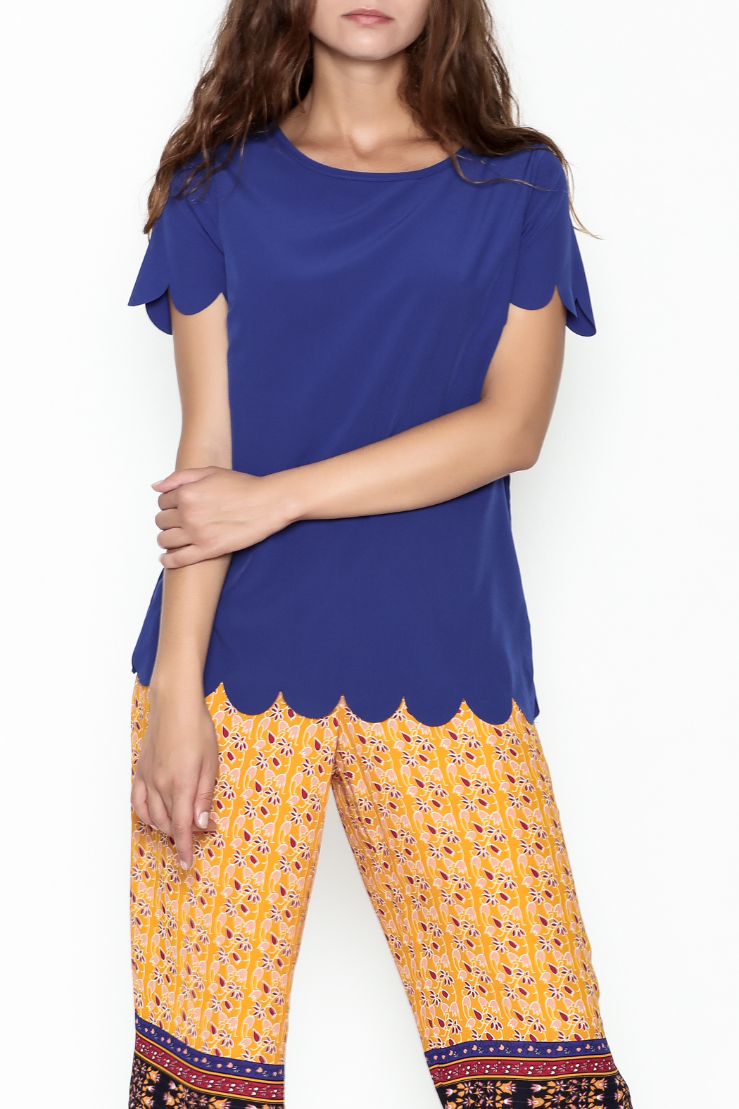 Golden Spirit Scallop Hem Top - Main Image