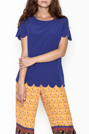Golden Spirit Scallop Hem Top - Front cropped