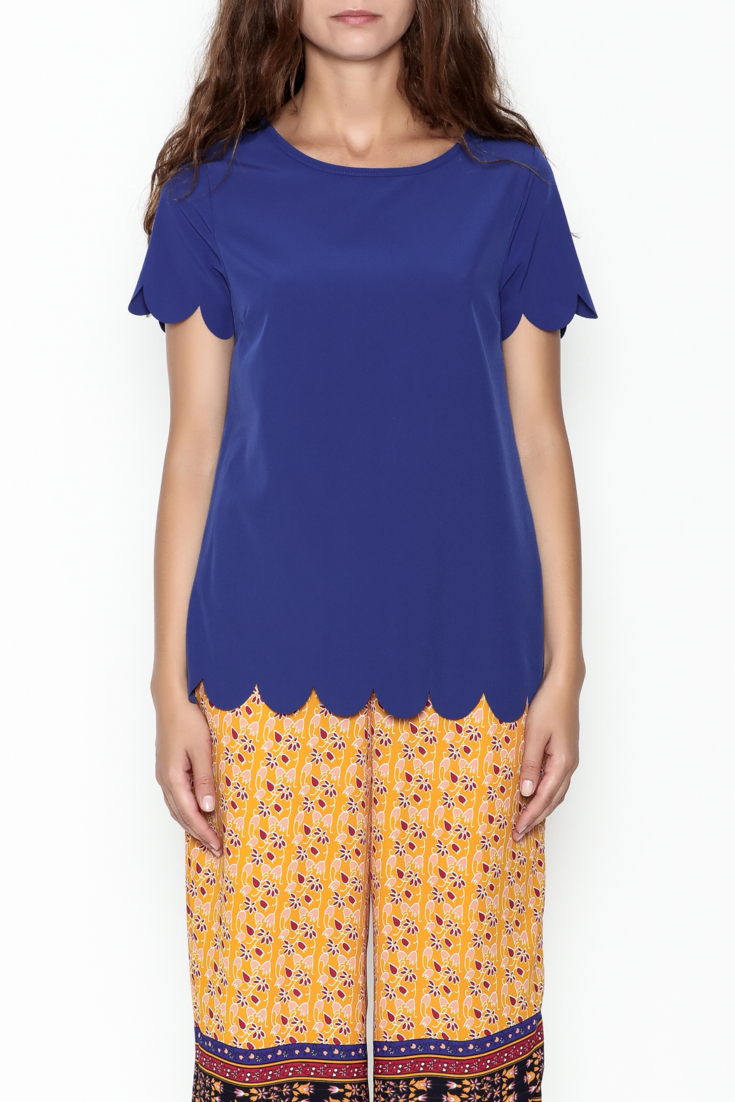 Golden Spirit Scallop Hem Top - Front Full Image
