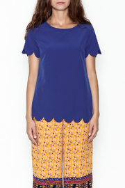 Golden Spirit Scallop Hem Top - Front full body