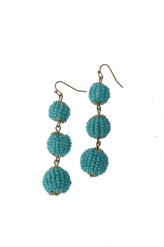 Golden Stella  Blue Beaded Earrings - Product List Image