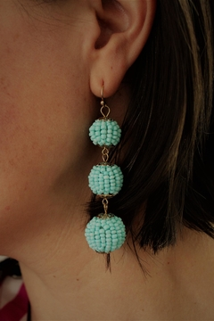 Golden Stella  Blue Beaded Earrings - Alternate List Image