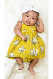 YO BABY Goldendrod Lotus Baby Dress With Matching Diaper Cover - Front cropped