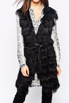 Goldie Black Fringing Gillet Vest - Product List Image