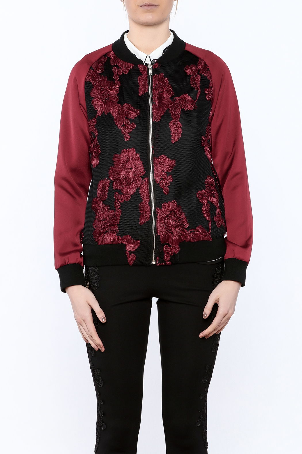 Goldie Embroidered Bomber Jacket - Side Cropped Image