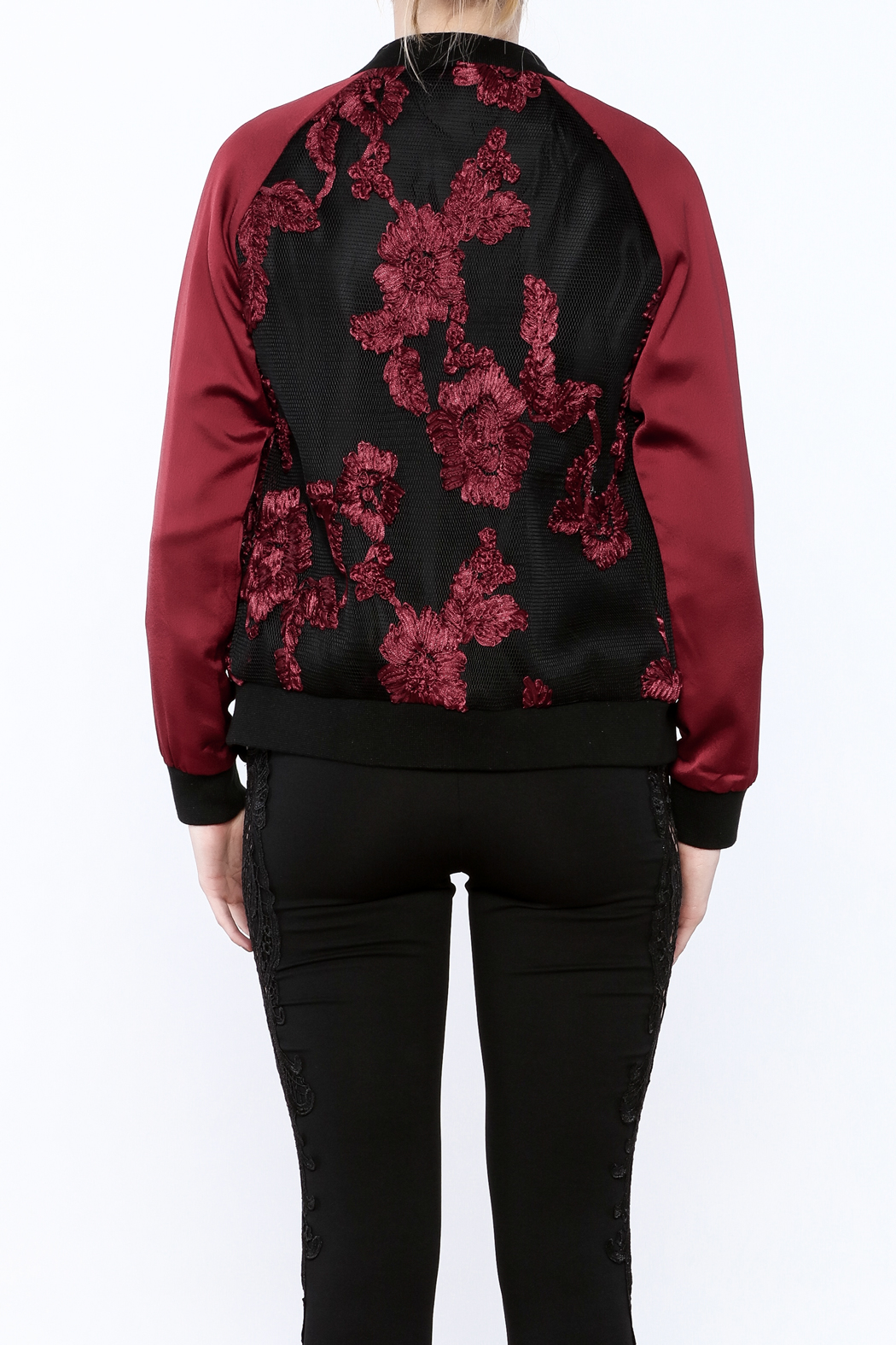 Goldie Embroidered Bomber Jacket - Back Cropped Image