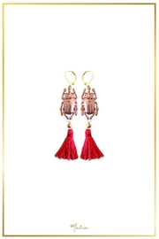 Malia Jewelry Goldrose-Beetle Red-Tassel Earrings - Product Mini Image