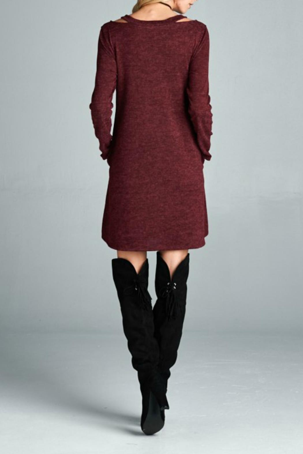 Goldspark Cut-Out Sweater Dress - Side Cropped Image