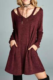 Goldspark Cut-Out Sweater Dress - Front full body