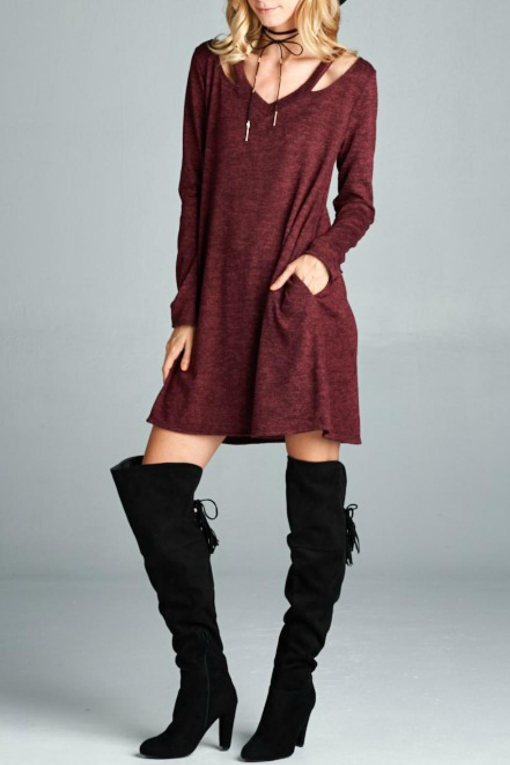 Goldspark Cut-Out Sweater Dress - Front Cropped Image