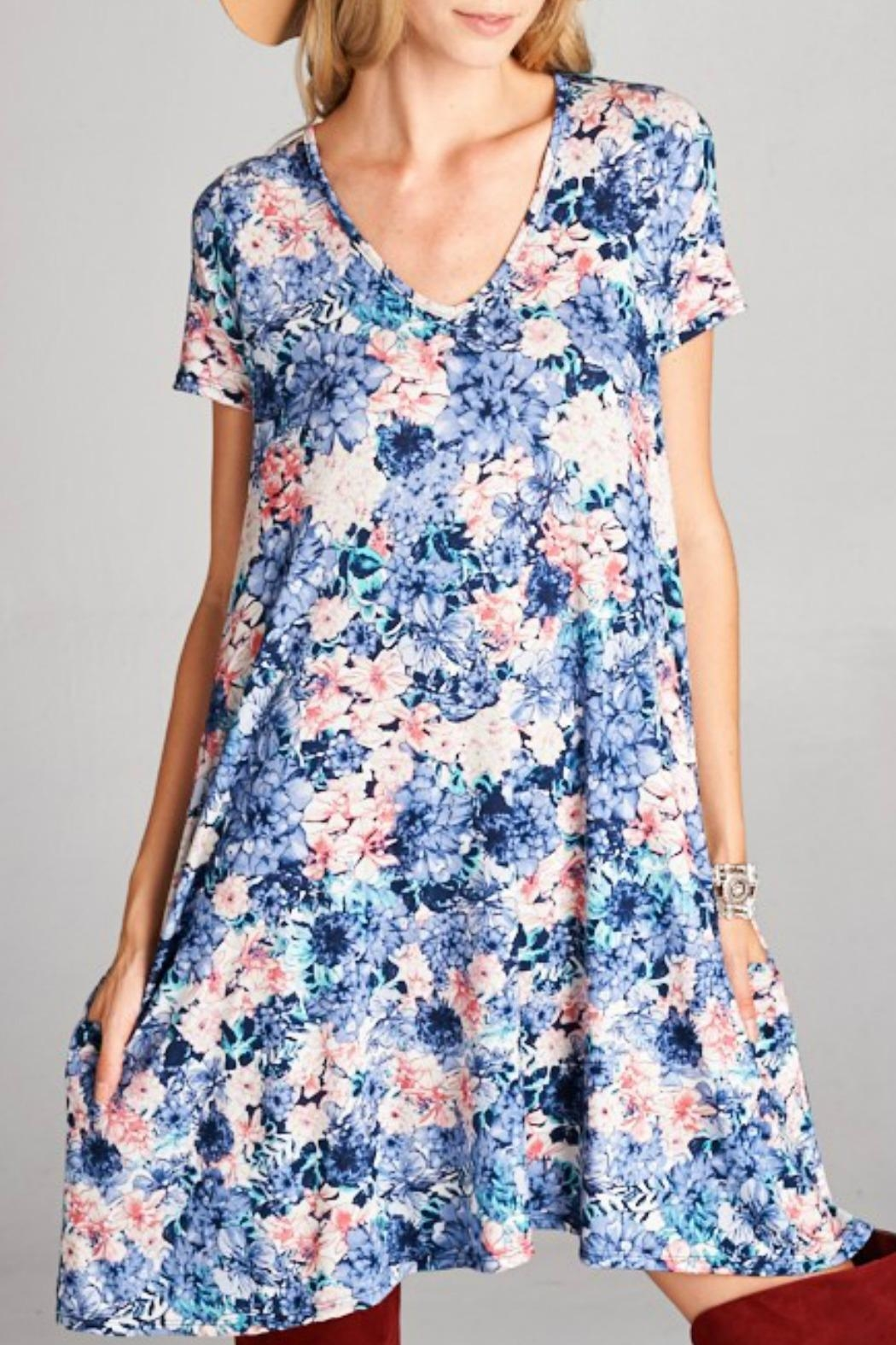 Goldspark Floral Swing Dress - Front Full Image