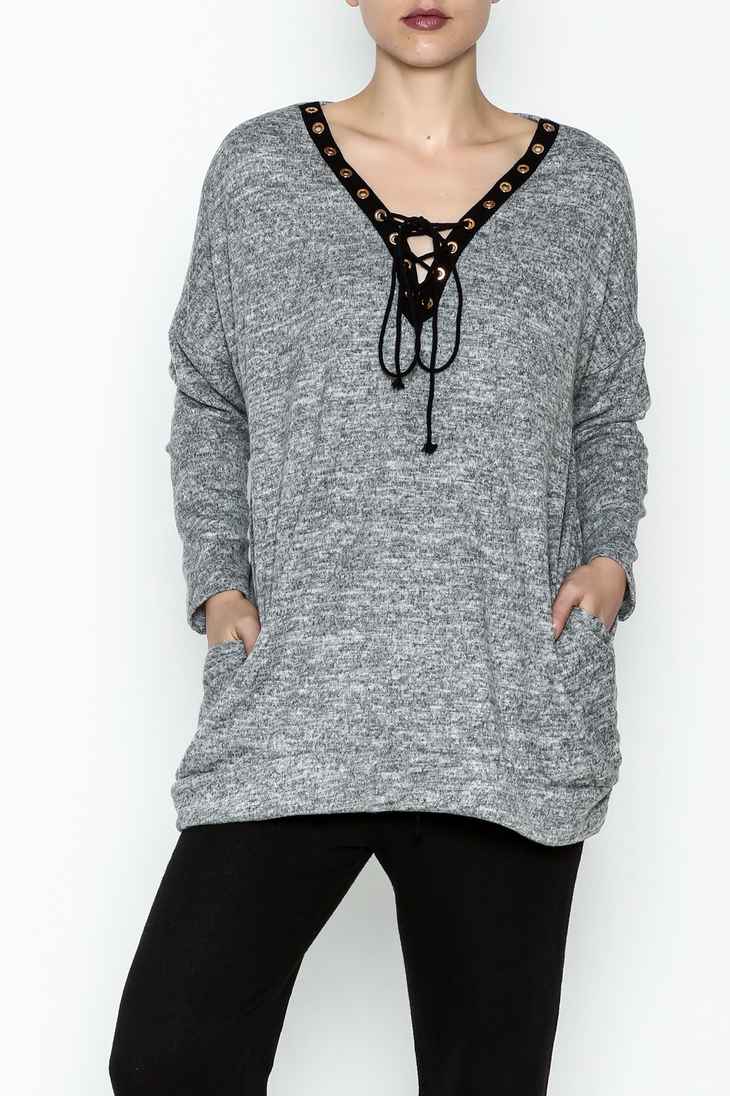 Goldspark Lace Up Tunic Sweater - Front Cropped Image