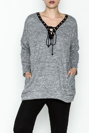 Goldspark Lace Up Tunic Sweater - Front cropped