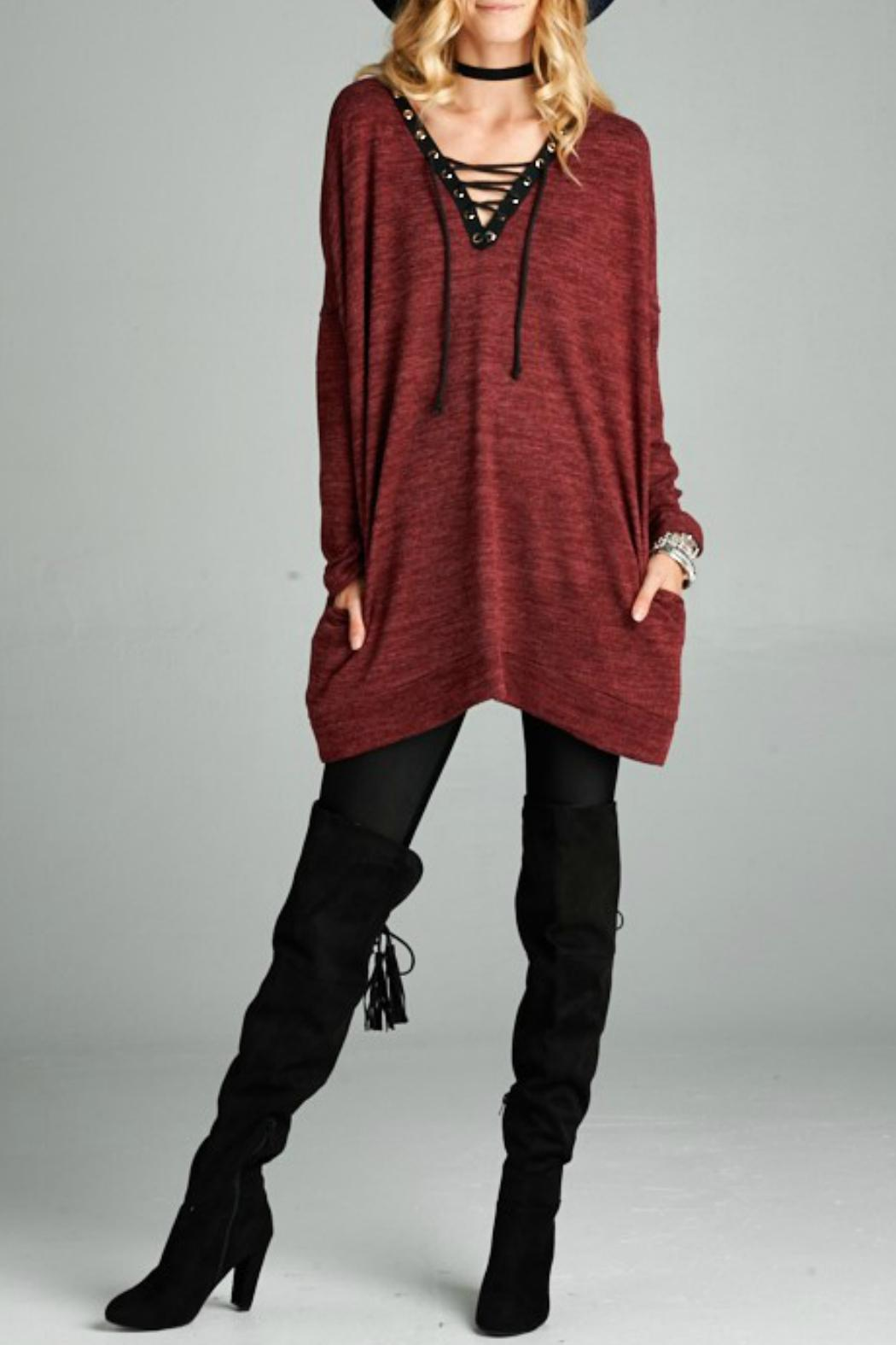 Goldspark Lace Up Tunic Sweater from Texas by POE and Arrows ...