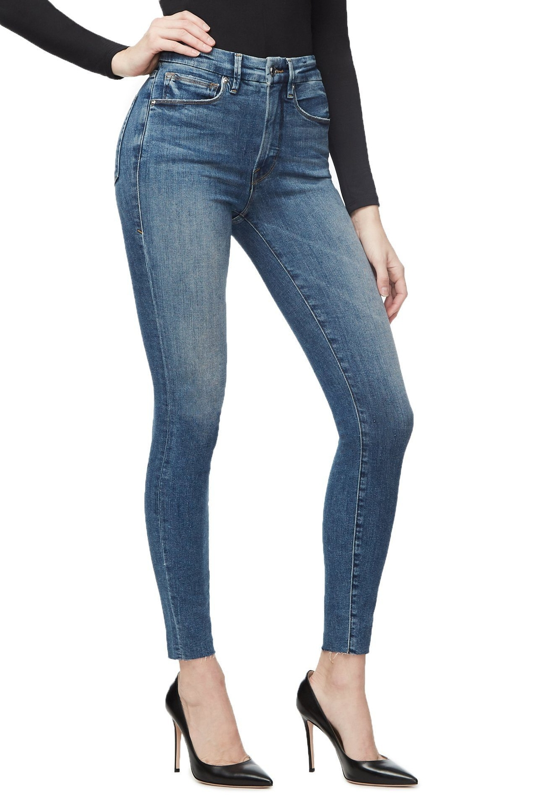 Good American  Good Legs Raw Edge Jeans - Side Cropped Image