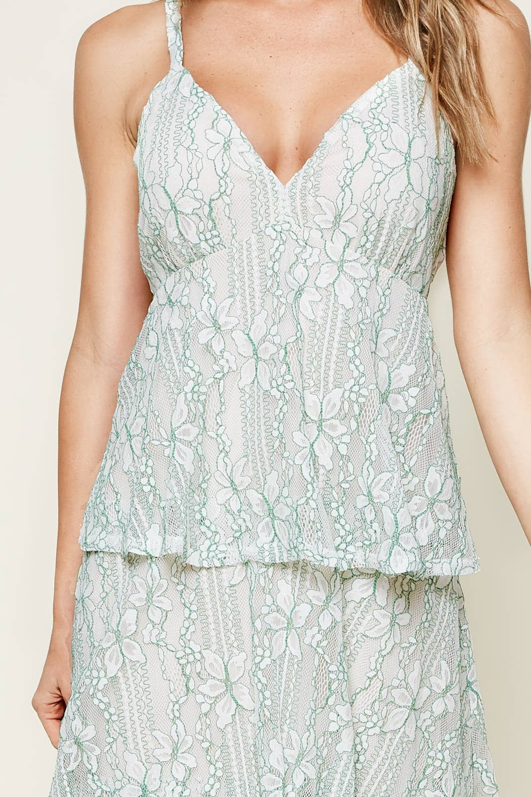 Sugarlips Good Life Tiered Lace Maxi Dress - Back Cropped Image