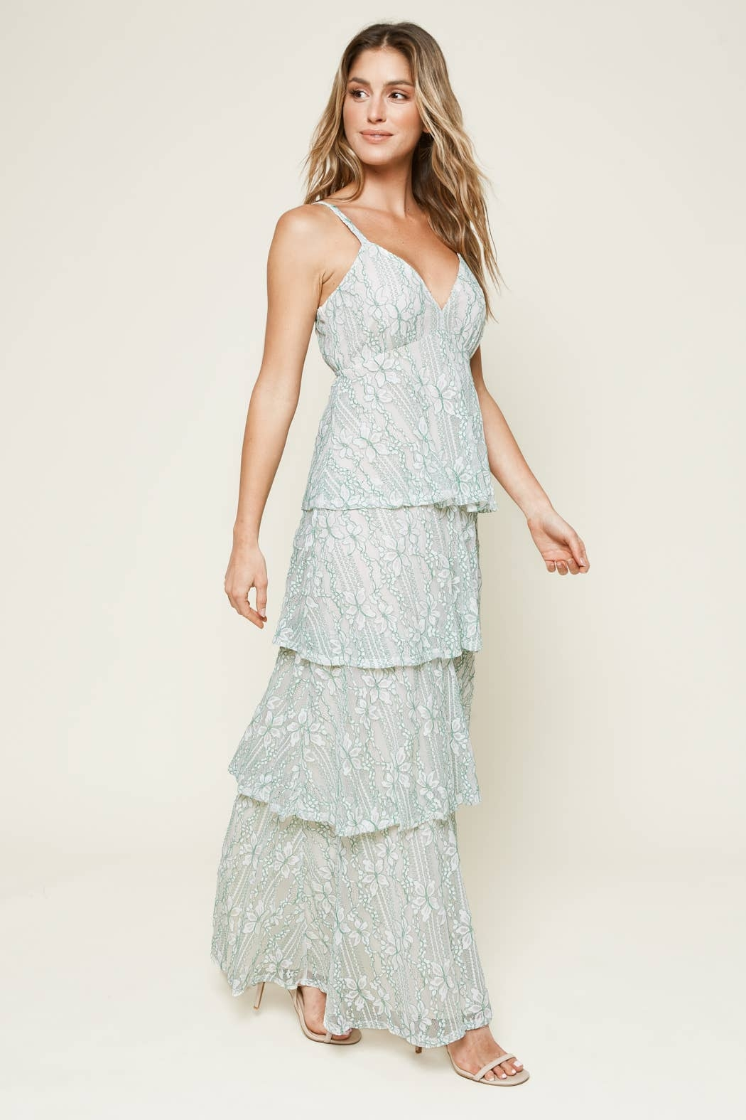Sugarlips Good Life Tiered Lace Maxi Dress - Front Full Image