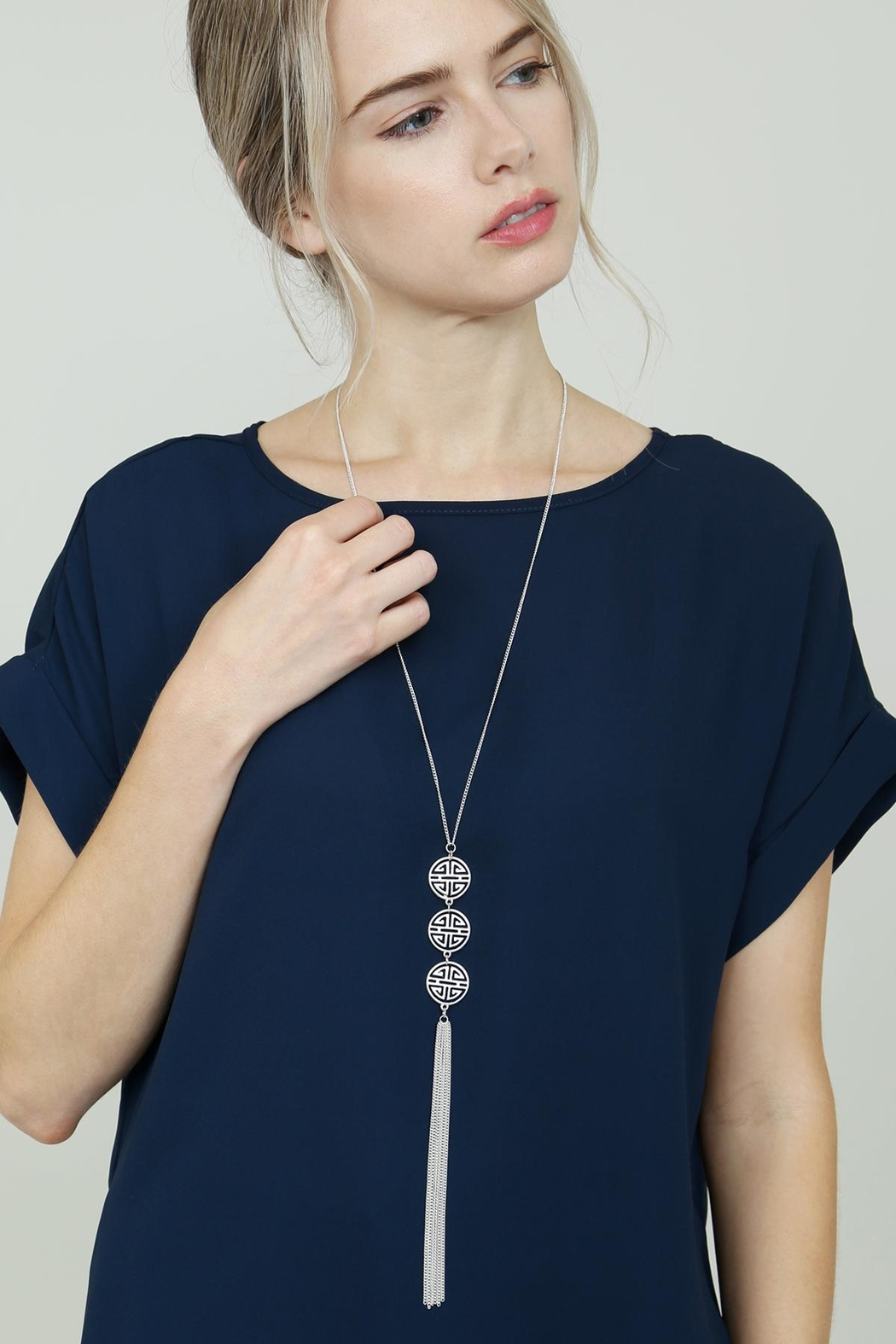 Riah Fashion Good-Luck-Charm Tassel-Lariat-Necklace - Back Cropped Image