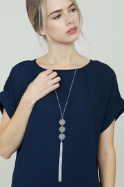 Riah Fashion Good-Luck-Charm Tassel-Lariat-Necklace - Back cropped