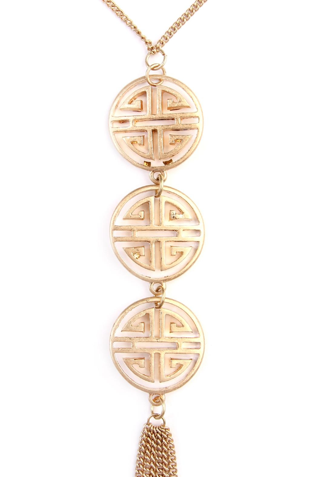 Riah Fashion Good-Luck-Charm Tassel-Lariat-Necklace - Front Full Image