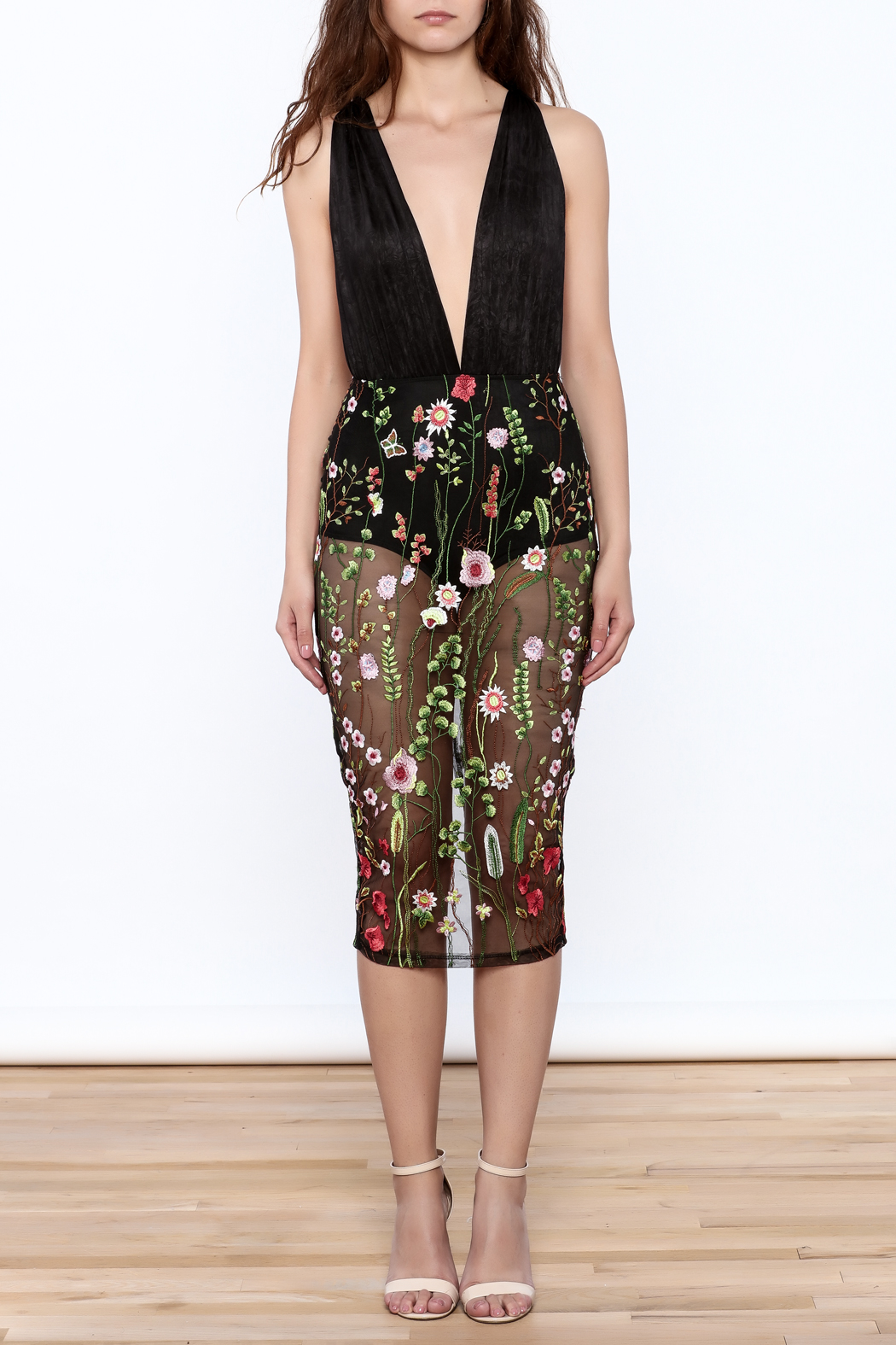 Good Time Flower Embroidered Dress - Front Cropped Image