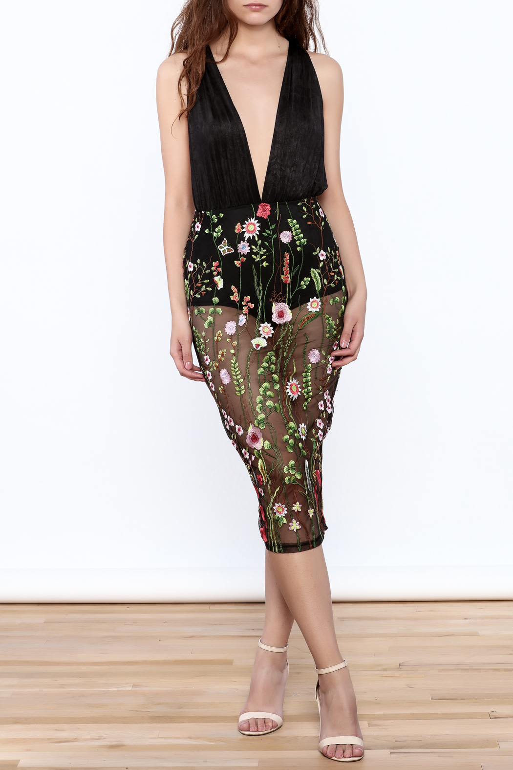 Good Time Flower Embroidered Dress - Front Full Image