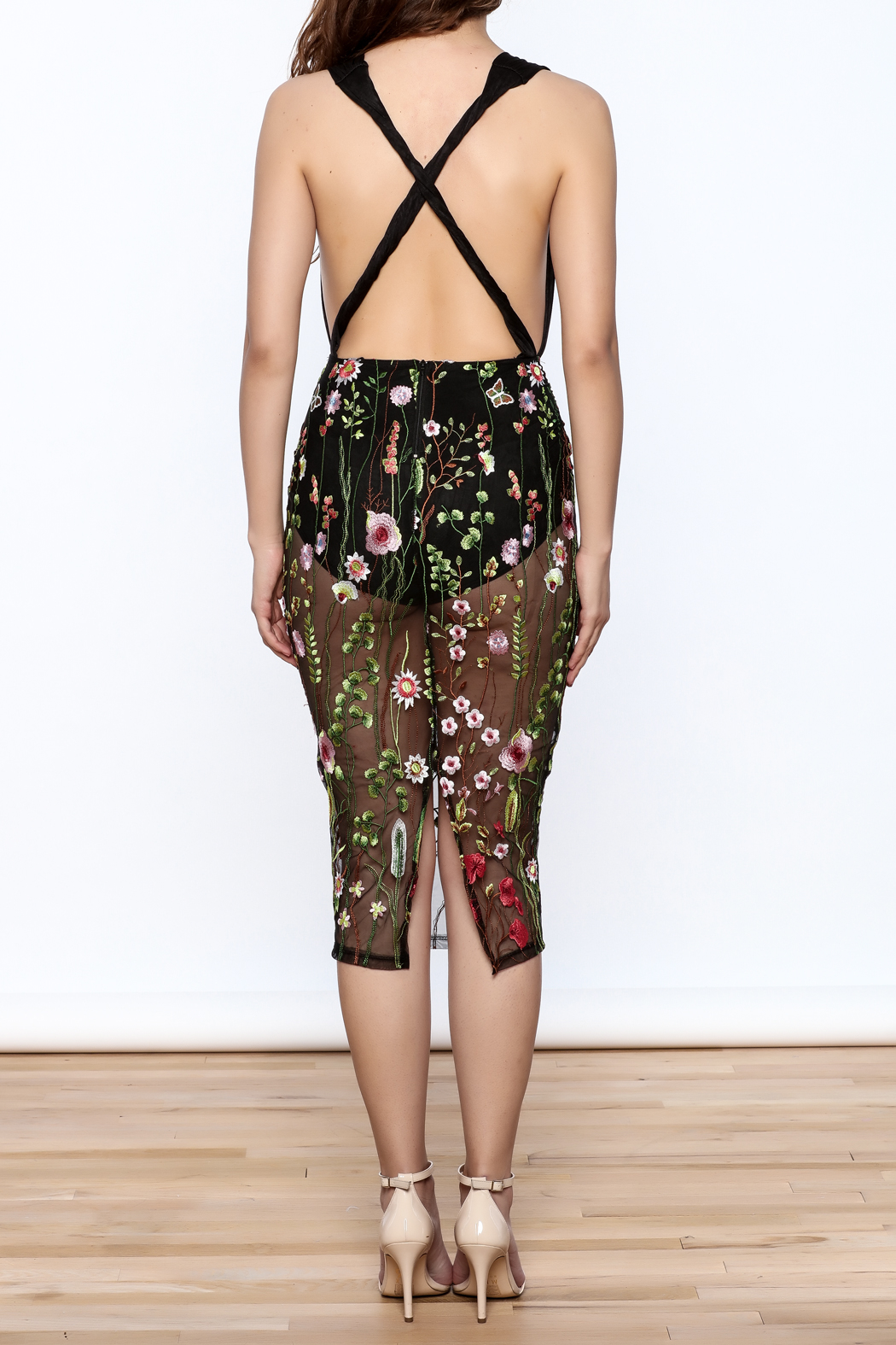Good Time Flower Embroidered Dress - Back Cropped Image