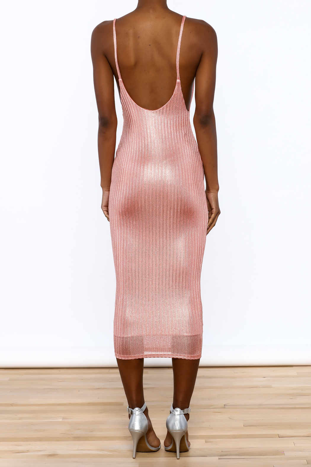 Good Time Knit Foil Dress - Back Cropped Image