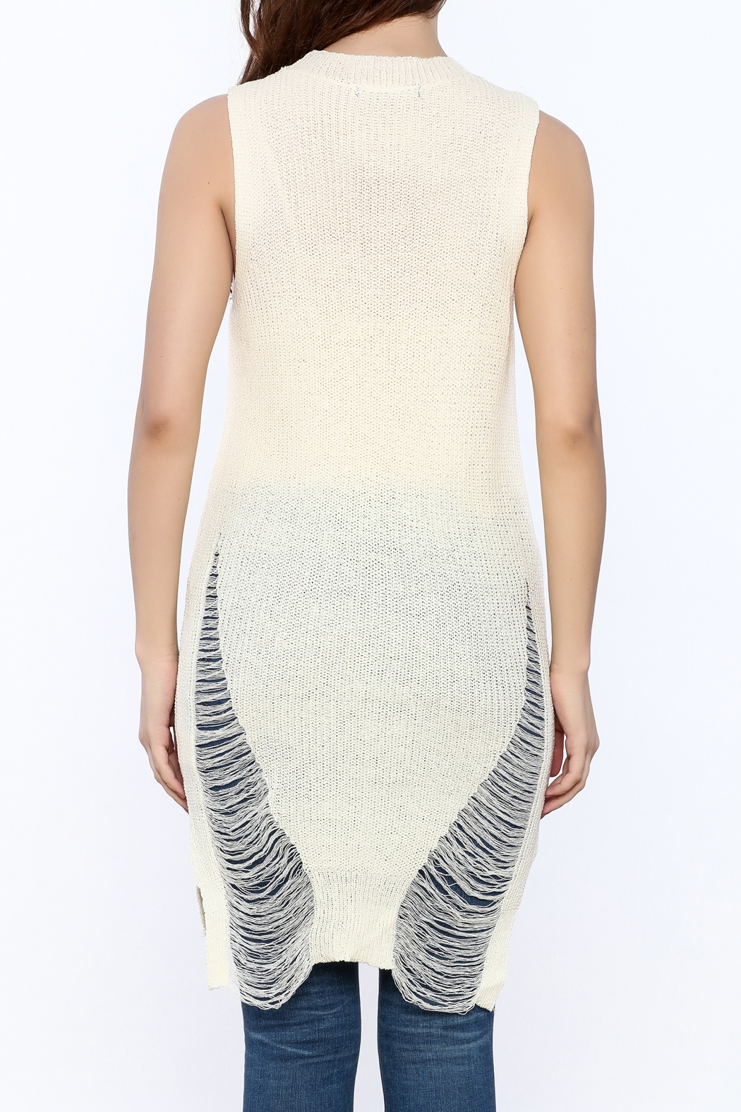 Good Time Knitted Sleeves Top - Back Cropped Image