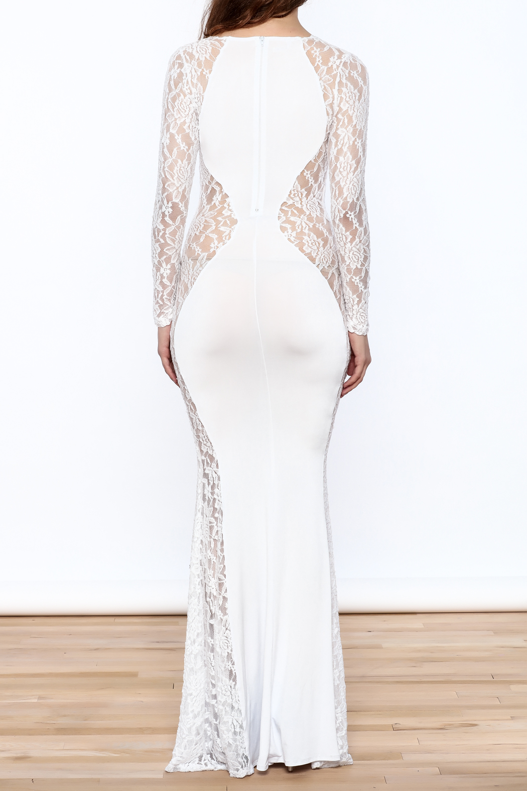 Good Time Lace Mermaid Dress - Back Cropped Image