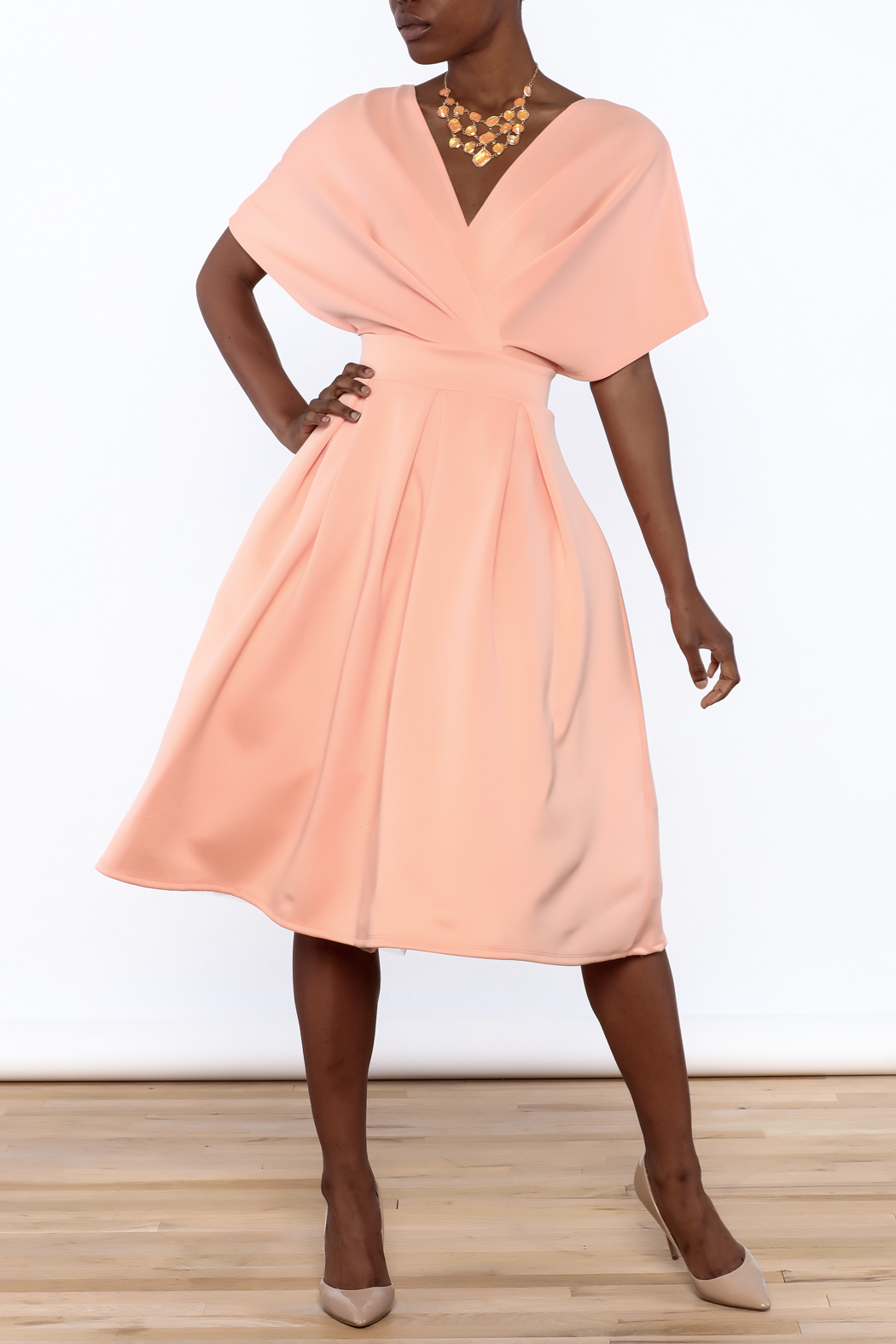 Good Time Puff Skirt Dress - Front Full Image