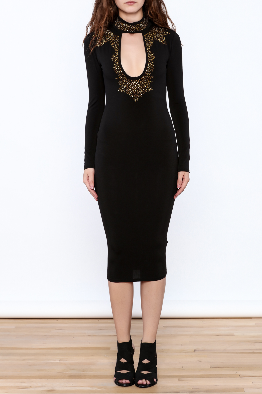 Good Time Rhinestone Choker Dress - Front Cropped Image