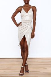 Good Time Silky Wrapped Dress - Front full body