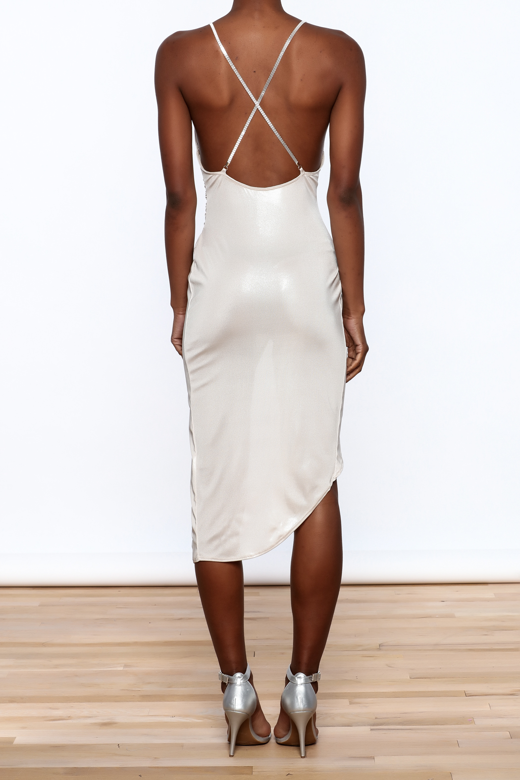 Good Time Silky Wrapped Dress - Back Cropped Image