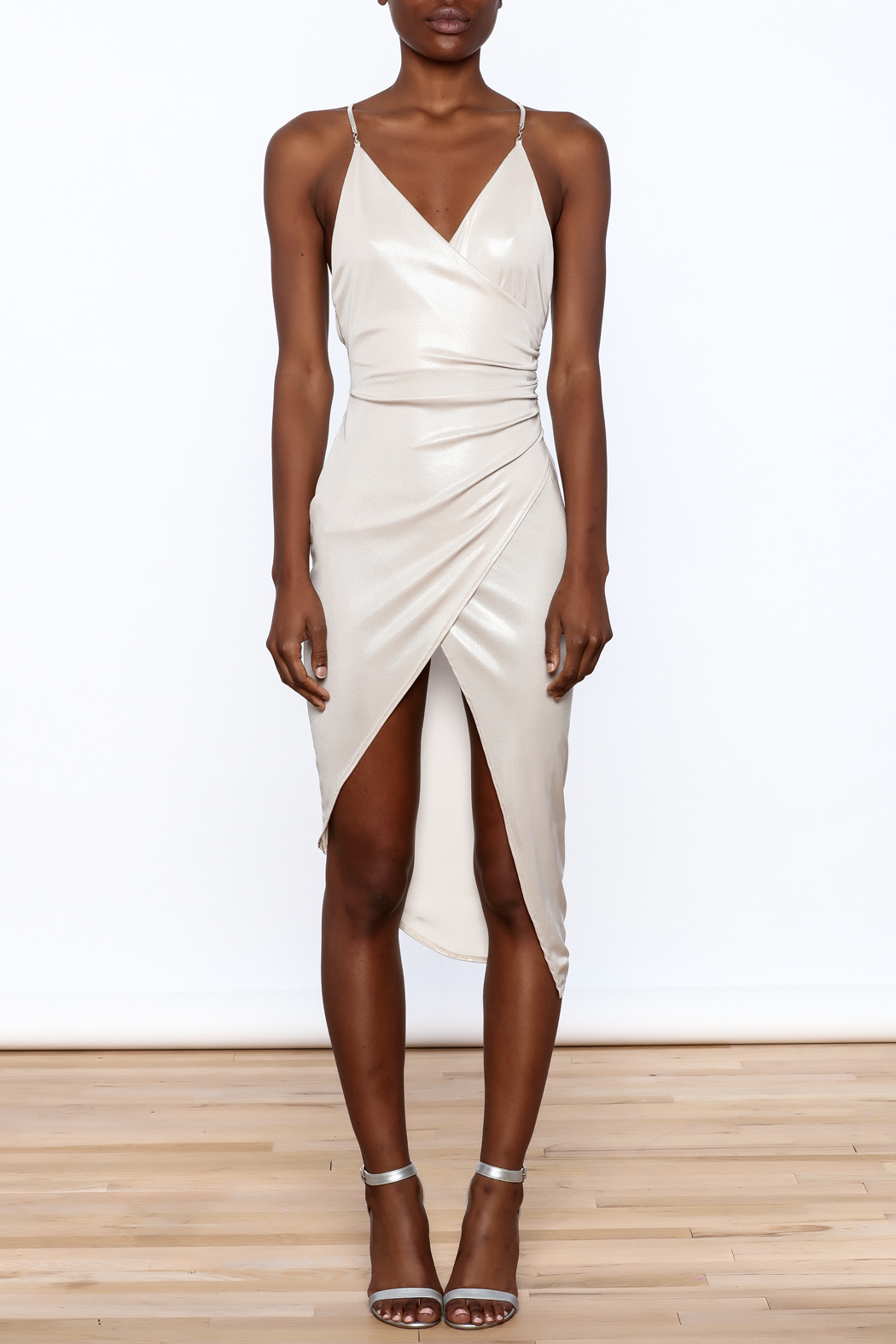 Good Time Silky Wrapped Dress - Front Cropped Image