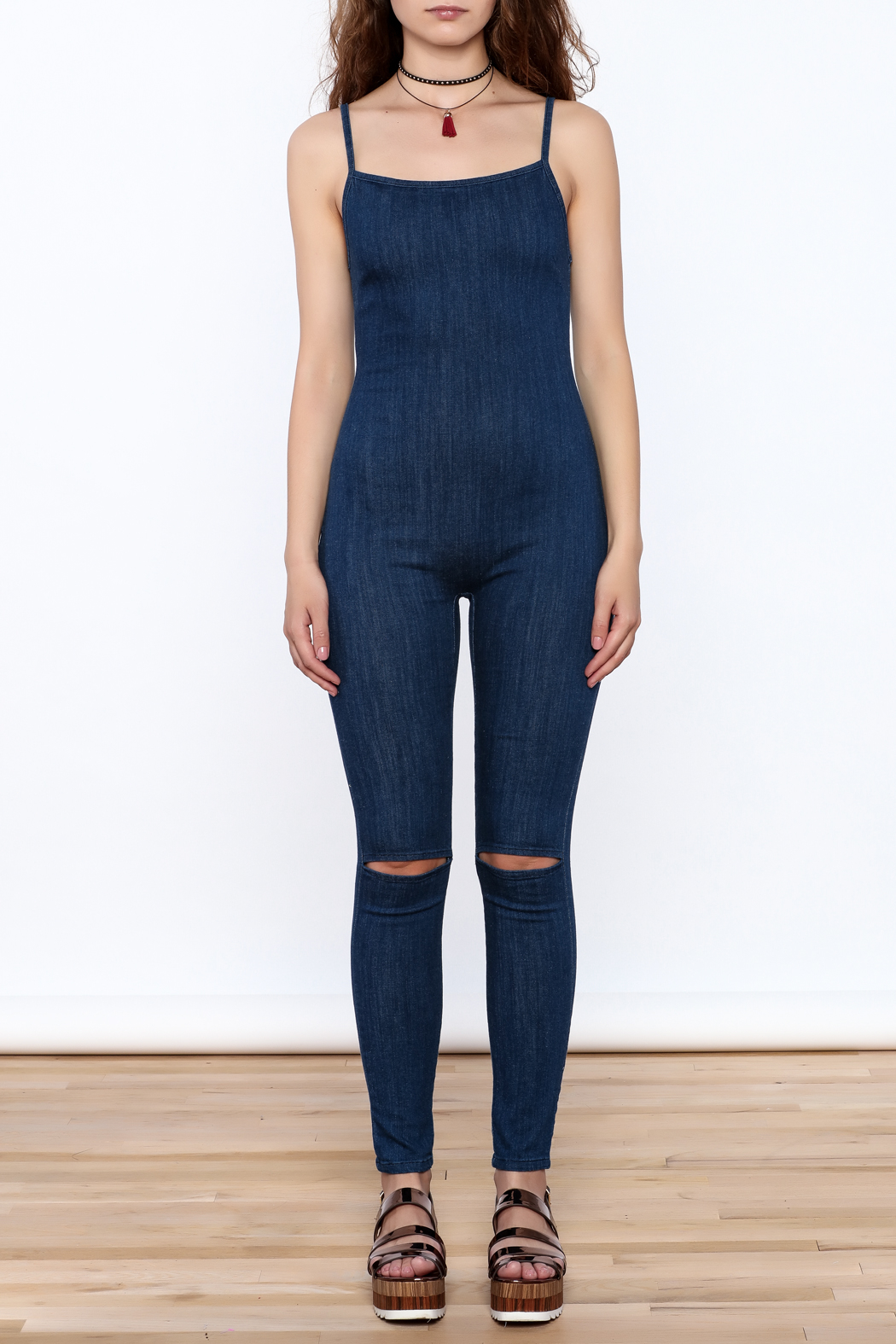 Good Time Washed Denim Jumpsuit - Front Cropped Image
