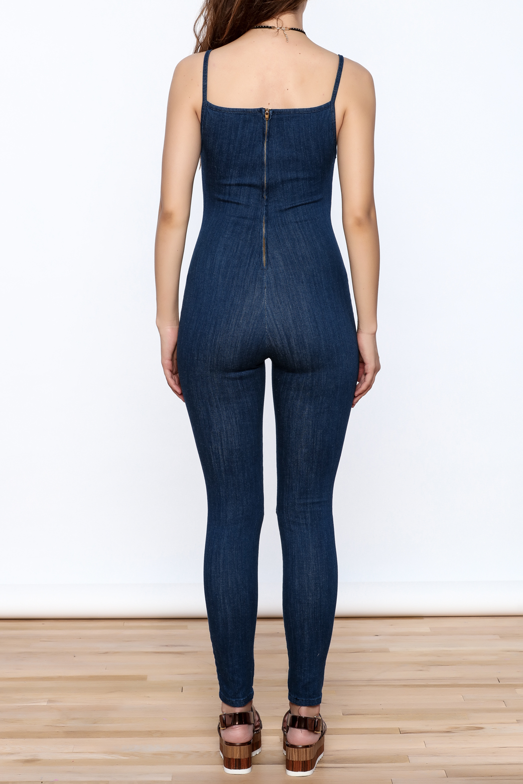 Good Time Washed Denim Jumpsuit - Back Cropped Image
