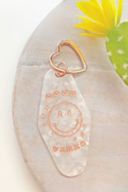 Oat Collective Good Vibes Keychain - Front cropped