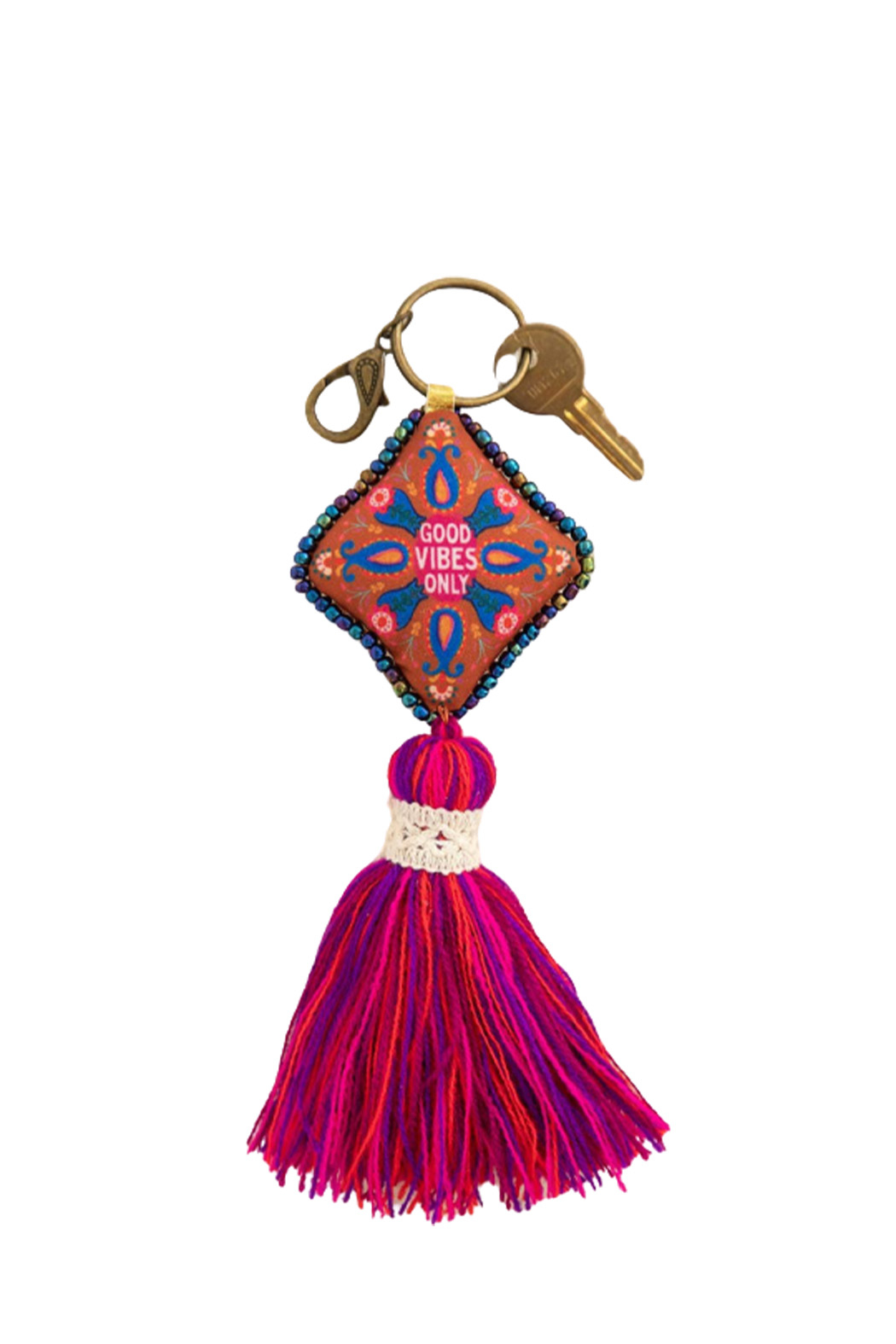 Natural Life Good Vibes Only Mantra Keychain - Main Image