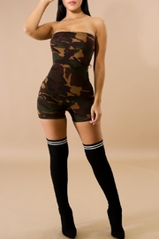 Good Time Camo Strapless Romper - Front full body