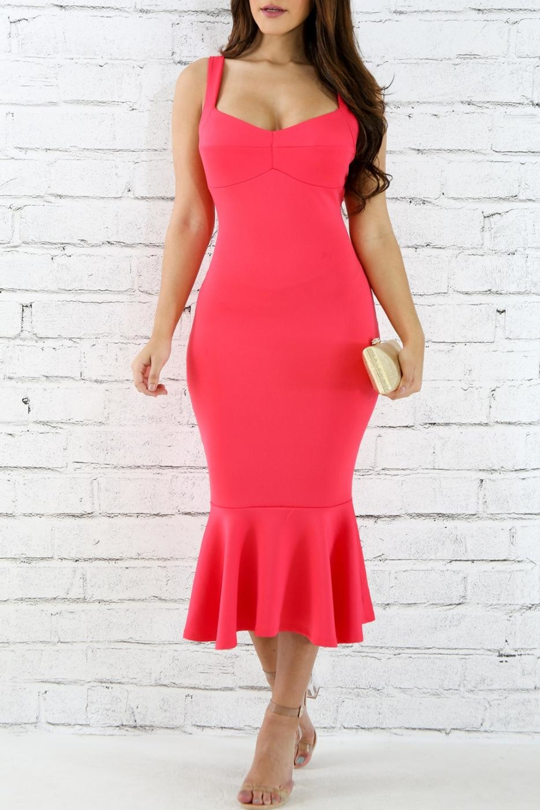 Good Time Coral Flare Dress - Main Image