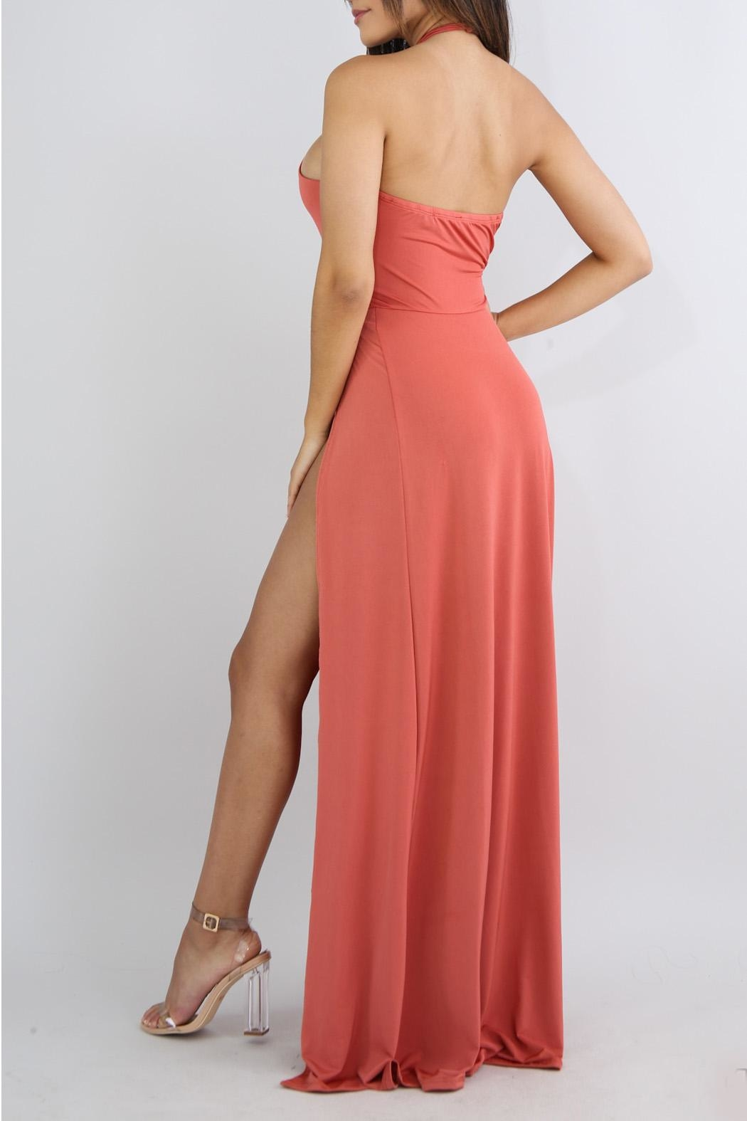 Good Time Coral Maxi Dress - Front Full Image