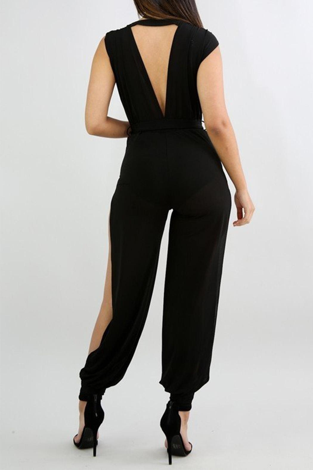 Good Time Crepe Mesh Jumpsuit - Side Cropped Image
