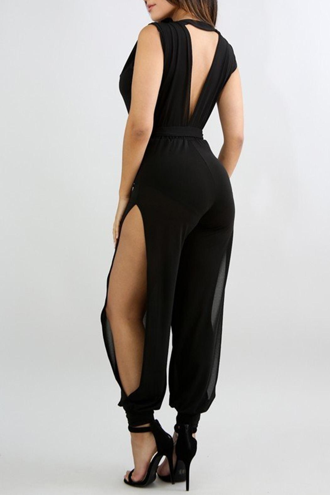 Good Time Crepe Mesh Jumpsuit - Front Full Image