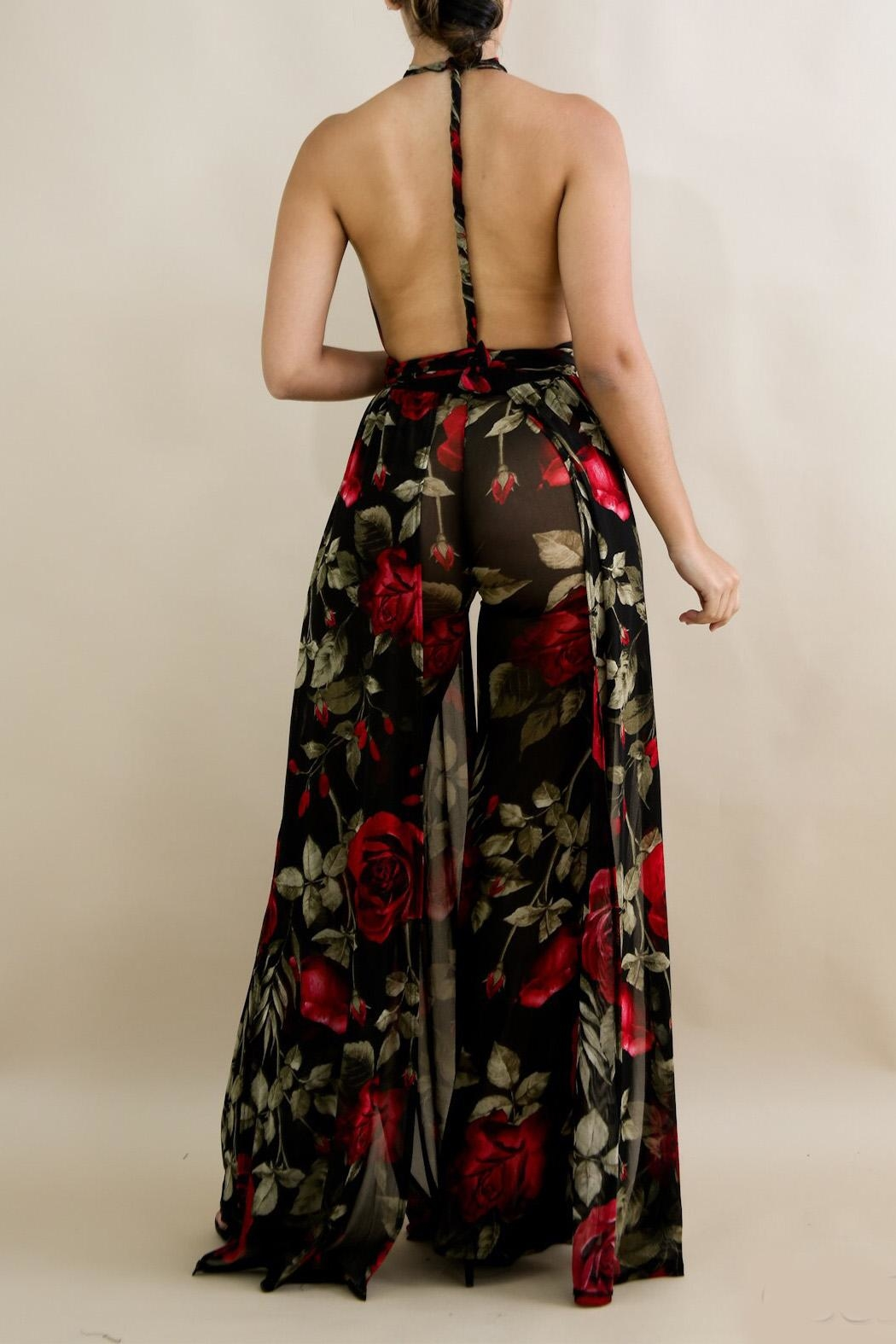 Good Time Floral Mesh Jumpsuit - Back Cropped Image