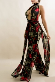 Good Time Floral Mesh Jumpsuit - Front full body