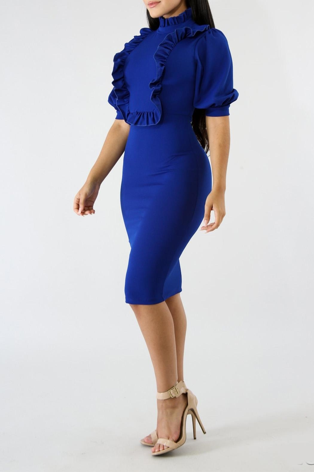 Good Time Ruffle Neck Dress - Front Full Image