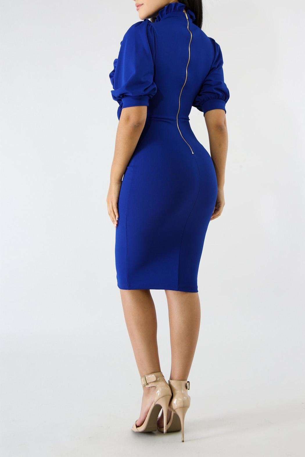 Good Time Ruffle Neck Dress - Side Cropped Image