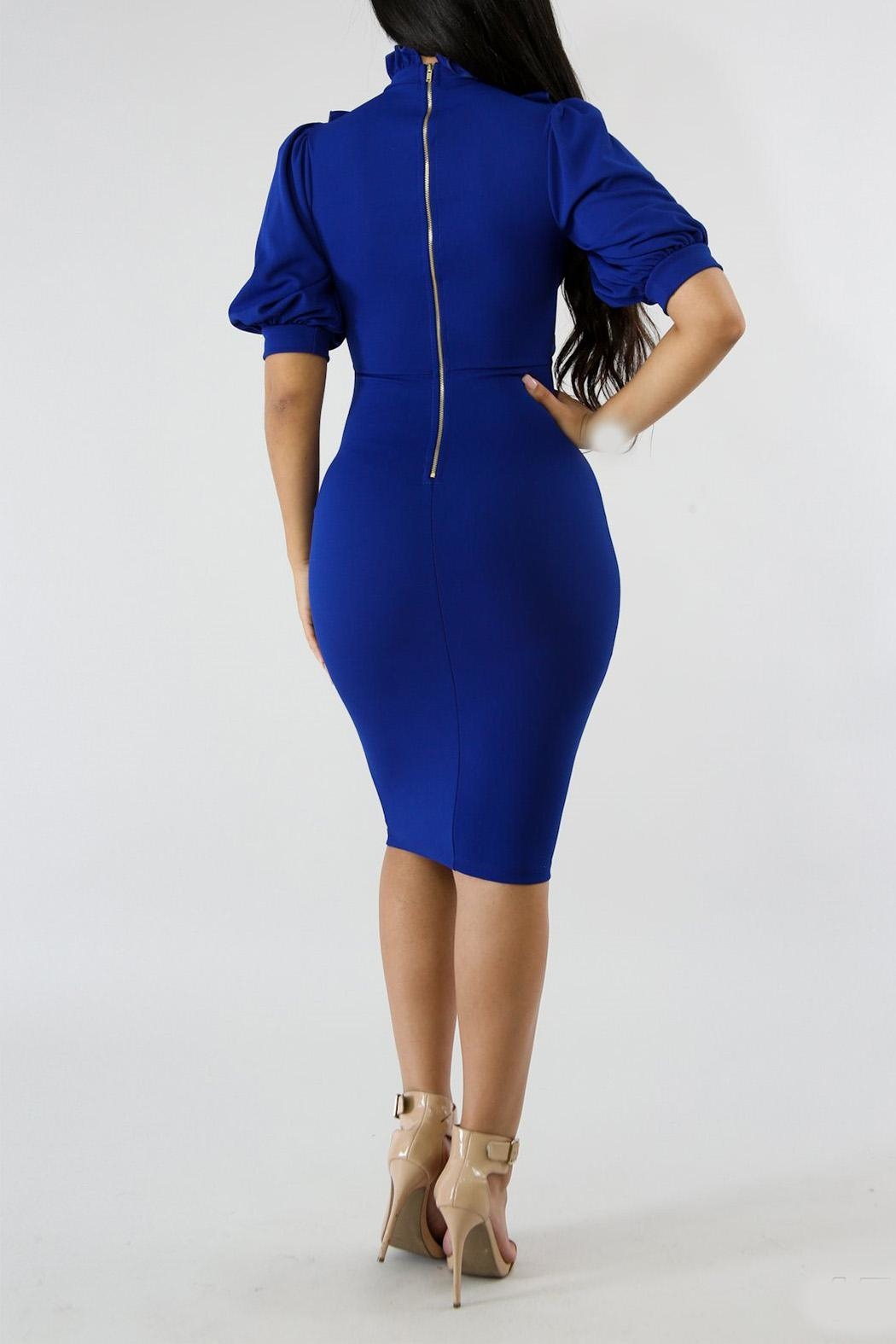 Good Time Ruffle Neck Dress - Back Cropped Image