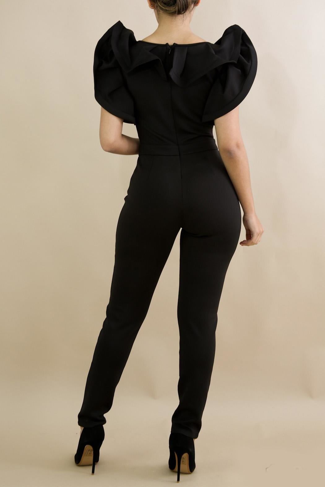 Good Time Ruffle Neck Jumpsuit - Side Cropped Image